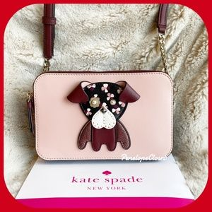 KATE SPADE FLORAL PUP DOUBLE ZIP CROSSBODY BAG
